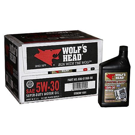 Wolf's Head 5W30 Motor Oil - 1 Quart Bottles - 12 pack