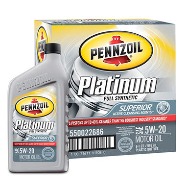 Pennzoil Platinum 5W-20 Motor Oil - 1 Quart Bottles - 6 Pack