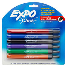 EXPO Click Dry Erase Markers, Assorted Colors (Fine, 6 ct.)
