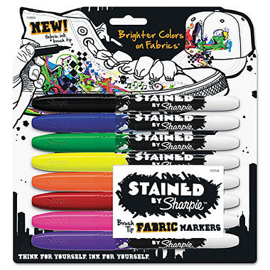 Sharpie Stained Permanent Fabric Markers, Assorted Colors (Brush, 8 ct.)
