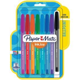 Paper Mate - InkJoy 100 Stick Pen, 1.0 mm, Assorted -  8/Set