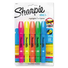 Sharpie - Gel Highlighter, Assorted Colors -  5 per Set
