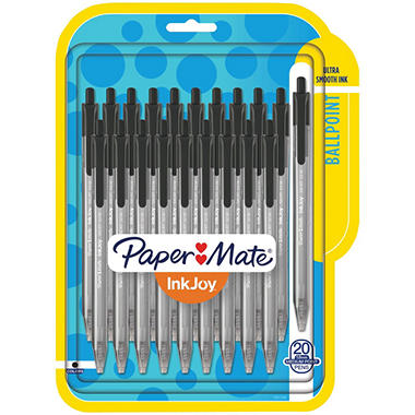 Paper Mate - InkJoy 100RT Retractable Ballpoint Pen, 1.0mm, Black Ink -  20/Pk