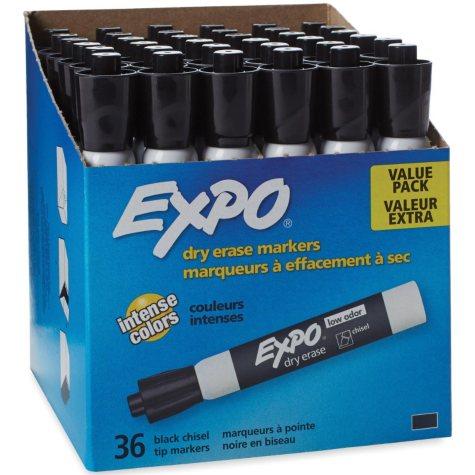 EXPO Low Odor Chisel Tip Dry Erase Marker, Black or Assorted (36 pk.)
