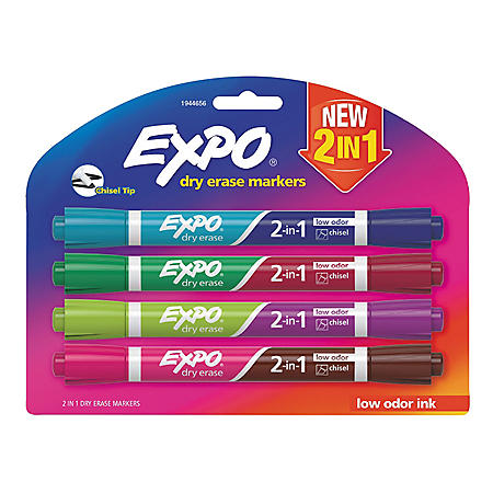 OFFLINE- Expo 2-in-1 Dry Erase Markers, Medium Point, 8 Assorted Colors (4 pk.)