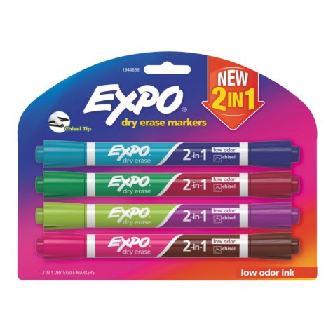 Expo 2-in-1 Dry Erase Markers, Medium Point, 8 Assorted Colors (4 pk.)