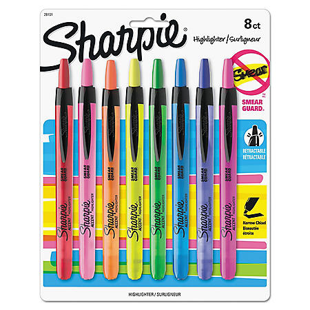 Sharpie - Accent Retractable Highlighters, Chisel Tip, Assorted Colors -  8/Set
