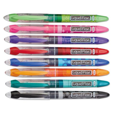 Paper Mate Liquid Flair Porous Point Stick Pen, Assorted Colors (Medium, 8 ct.)