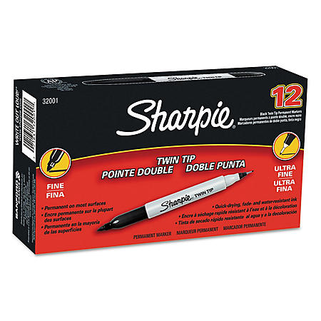 Sharpie Twin-Tip Permanent Marker, Black (Ultra-Fine and Fine Tip)