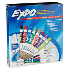Expo - Low Odor Dry Erase Marker, Eraser and Cleaner Set, Assorted Colors (Chisel and Fine Tip, 12 ct.)