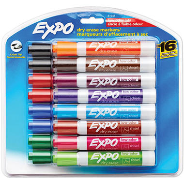 expo low odor dry erase markers assorted colors chisel tip 16 ct