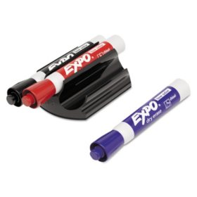 Expo - Magnetic Clip Eraser with Markers, Chisel, Assorted - 3 Markers per Pack