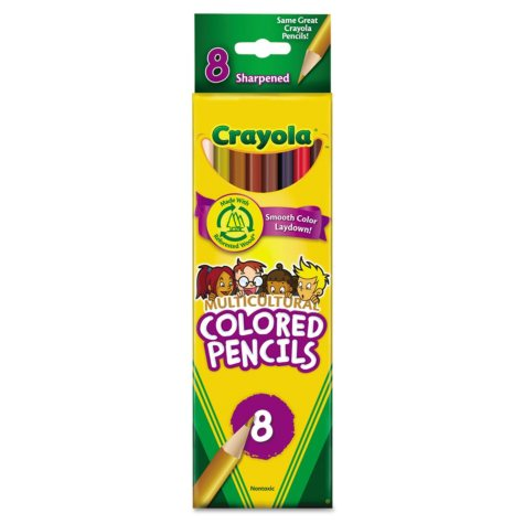Crayola Multicultural Colored Woodcase Pencils, 3.3 mm, Assorted Colors - 8 Pencils