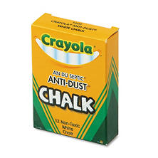 Crayola Nontoxic Anti-Dust Chalk, White, 12 Sticks per Box