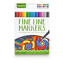 Crayola Fine Line Markers, Classic Colors, 12ct.