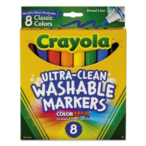 Crayola® Washable Markers, Broad Point, Classic Colors, 8/Pack