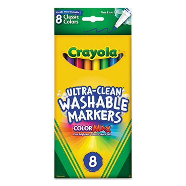 Crayola Washable Markers, Fine Point, Classic Colors, 8 Pack