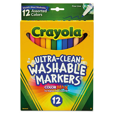 Crayola Washable Markers, Fine Point, Classic Colors, 12 Pack