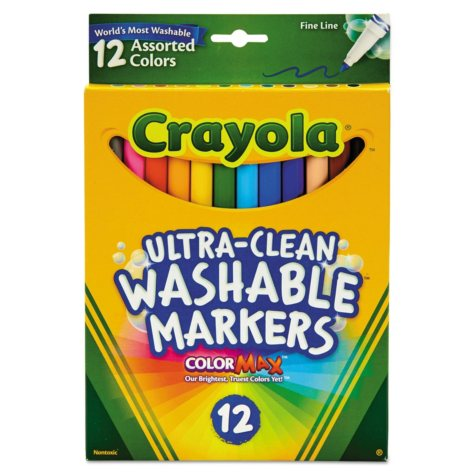 Crayola® Washable Markers, Fine Point, Classic Colors, 12/Set