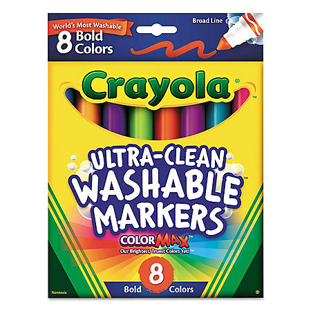 Crayola® Washable Markers, Broad Point, Bold Colors, 8/Set