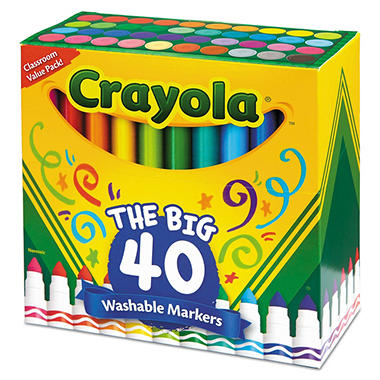 Crayola® Washable Markers, Broad Point, Assorted Classic Colors, 40/Set