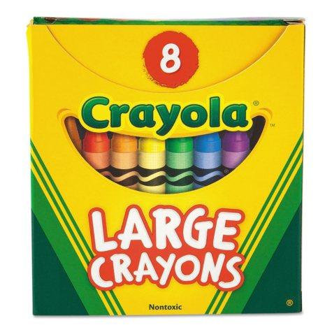 Crayola® Large Crayons, Tuck Box, 8 Colors/Box
