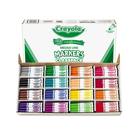 Crayola® Non-Washable Classpack Markers, Broad Point, 16 Classic Colors, 256/Box