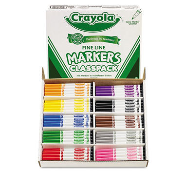 Crayola Classpack Non-Washable Fine Line Markers, 10 Colors, 200 Total Markers