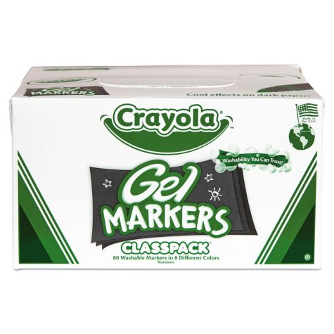 Crayola® Washable Gel FX Classpack Markers, Eight Assorted Colors, 80/Pack