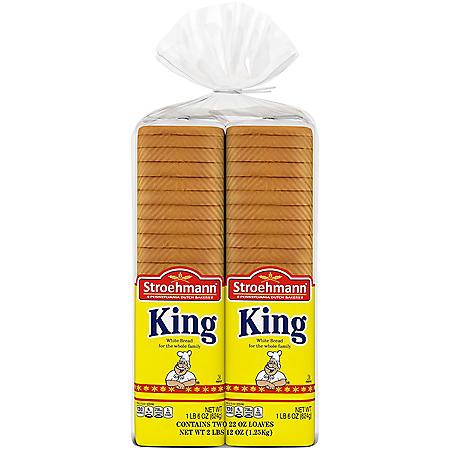 Stroehmann King Enriched White Bread (22oz / 2pk)