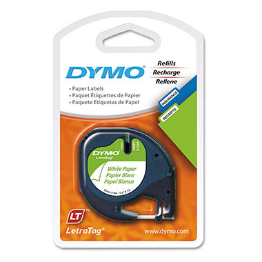 DYMO LetraTag - 10697 Paper Label Tape, 1/2