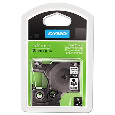 DYMO - D1 Flexible Nylon Label Maker Tape, 1/2in x 12ft -  Black on White