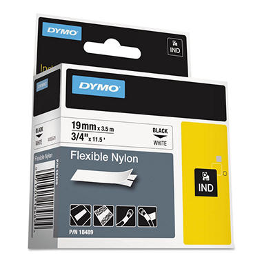 DYMO - Rhino Flexible Nylon Industrial Label Tape Cassette, 3/4in x 11-1/2 ft. -  White