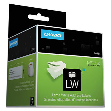 DYMO LabelWriter Address Labels, 1-2/5 x 3-1/2, White, 520/Box