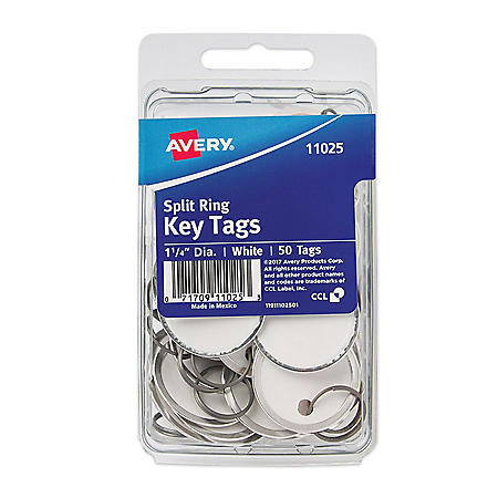Avery Key Tags with Split Ring, 1 1/4 dia, White, 50/Pack
