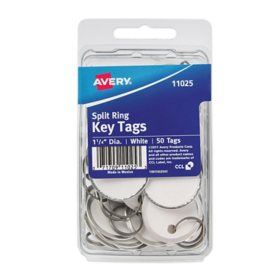 "Avery Metal Rim Key Tags, Card Stock/Metal, 1-1/4"" Diameter, White, 50 Tags"