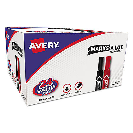 Avery MARKS A LOT Regular Desk-Style Permanent Marker, Medium Chisel Tip, Assorted Colors, 24/Pack