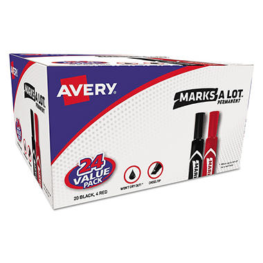Marks-A-Lot Permanent Markers, Black and Red (Chisel Tip, 24 ct.)