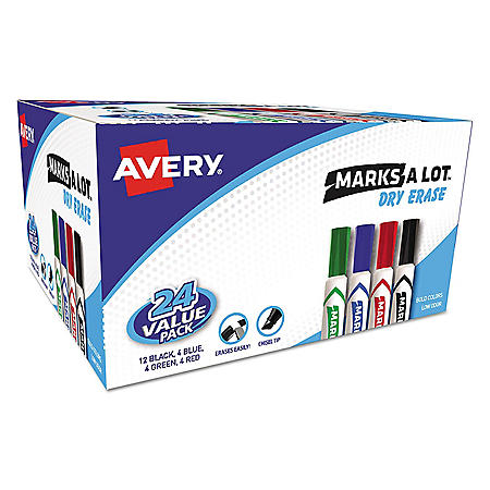 Avery MARKS A LOT Desk-Style Dry Erase Marker, Medium Chisel Tip, Assorted Colors, 24/Pack