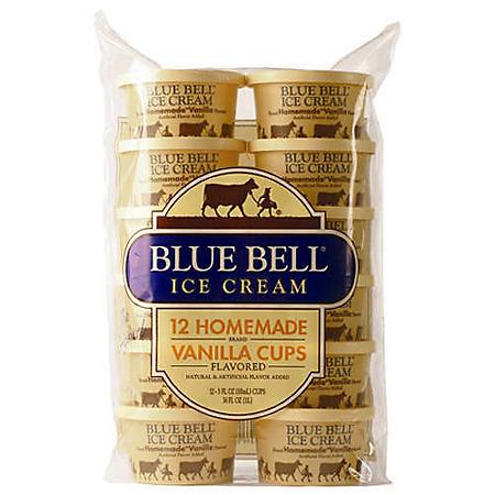 Blue Bell Homemade Vanilla Ice Cream Cups (12 ct. 3 oz.)