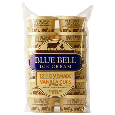 Blue Bell Homemade Vanilla Ice Cream Cups (12 ct. 3 oz.)
