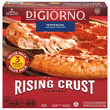 Digiorno Rising Crust Pepperoni Pizza 296 Oz 3 Pk Sams Club