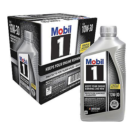 Mobil 1 10W-30 Motor Oil (6-pack/1 quart bottles)