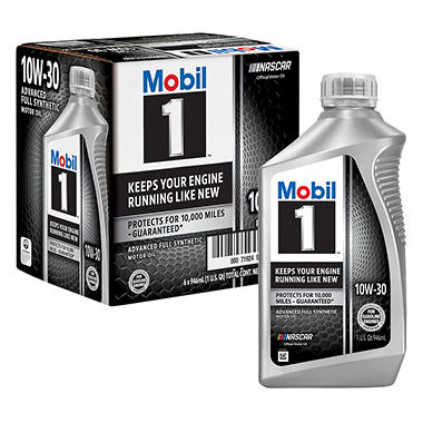 Mobil 1 10W-30 Motor Oil (6-pack / 1-quart bottles)
