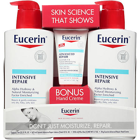 Eucerin Intensive Repair Body Lotion (21 fl. oz., 2 pk.) + Advanced Repair Hand Creme (2.7 oz.)