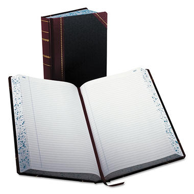 Boorum & Pease Record/Account Book, Record Rule, Black and Red, 500 Pages