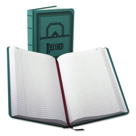 Boorum & Pease - Record/Account Book, Record Rule, Blue, 500 Pages -  12 1/8 x 7 5/8