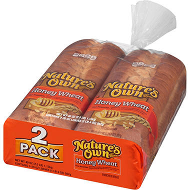 Nature's Own Honey Wheat Bread (20 oz. loaf, 2 pk.) - Sam ...