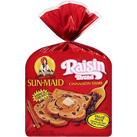 Sun-Maid Cinnamon Swirl Raisin Bread (32 oz., 2 pk.)