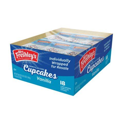 Mrs. Freshley's Vanilla Cupcakes (2 per pk., 18 pks.)
